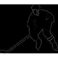 Хоккеист с вытянутой клюшкой