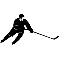 Хоккеист с вытянутой вперед клюшкой