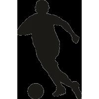 Футболист ударяющий по мячу