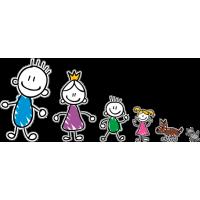 Семья - папа, мама, сын, дочь, собака, кот