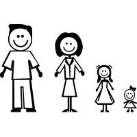 Семья - папа, мама, две дочки