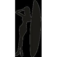 Девушка облокотившаяся на серф