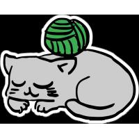 Кошка, кот с клубком ниток