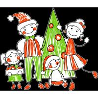 Семья у новогодней елки