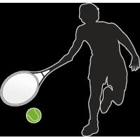 Теннисист с ракеткой и мячём