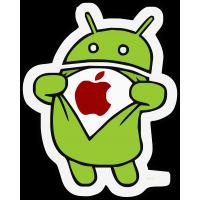 Android (Андроид) с эмблемой Apple (Эпл)