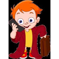 Парень с телефоном и чемодан
