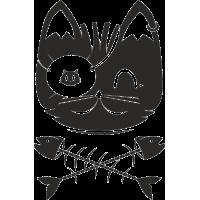 Кот и кости от рыбы
