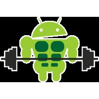 Накачанный Android держит штангу
