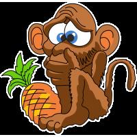 Обезьяна с ананасом