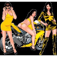 Девчонки на фоне мотоцикла