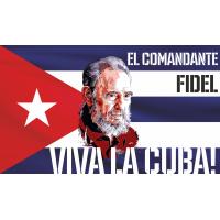 Фидель Кастро на фоне кубинского флага Viva la Cuba!