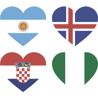 Тату Набор Группа Д (Сердца-Флаги Стран Участников Чемпионата Мира По Футболу 2018)