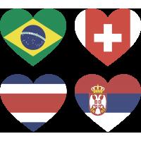 Тату Набор Группа Е (Сердца-Флаги Стран Участников Чемпионата Мира По Футболу 2018)