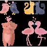 Набор Влюбленные Парочки Животные На День Святого Валентина 14 Февраля