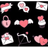 Набор Стикерпак  На День Святого Валентина 14 Февраля